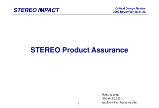 STEREO Product Assurance