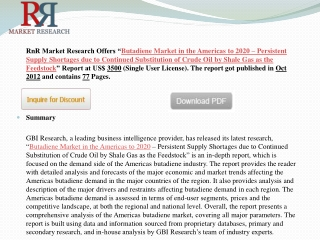 Butadiene Market in the Americas to 2020 RnR Market Research