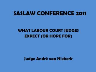 WHAT LABOUR COURT JUDGES  EXPECT (OR HOPE FOR) Judge André van Niekerk