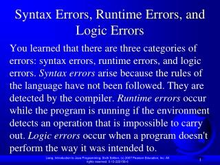 Syntax Errors, Runtime Errors, and Logic Errors
