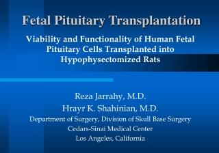 Fetal Pituitary Transplantation