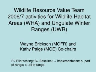 Wildlife Resource Value Team 2006/7 activities for Wildlife Habitat Areas (WHA) and Ungulate Winter Ranges (UWR)