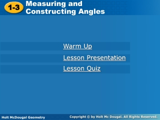 Measuring and  Constructing Angles