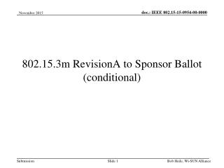 802.15.3m RevisionA to Sponsor Ballot (conditional)
