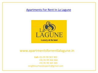 Apartments For Rent In La Lagune Gurgaon