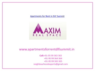 Apartments For Rent In DLF Summit