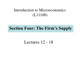 Lectures 12 - 18