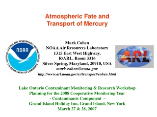 Atmospheric Fate and  Transport of Mercury