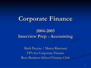 Corporate Finance 2004-2005 Interview Prep - Accounting