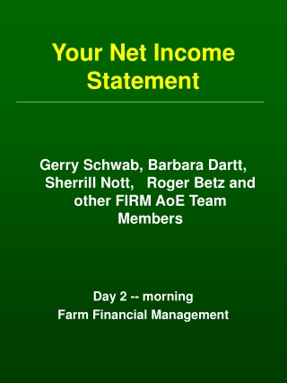 Your Net Income Statement