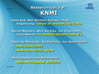 Research topics at  KNMI