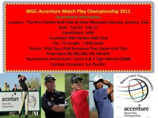 Watch WGC-Accenture Match Play Championship 2011 live stream