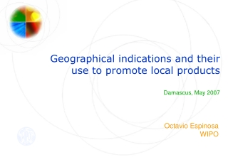 Geographical indications and their use to promote local products Damascus, May 2007