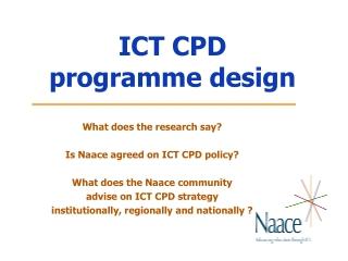 ICT CPD  programme design
