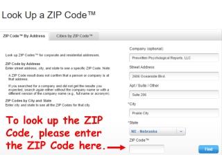 To look up the ZIP Code, please enter   the ZIP Code here.