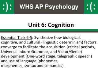Unit 6: Cognition