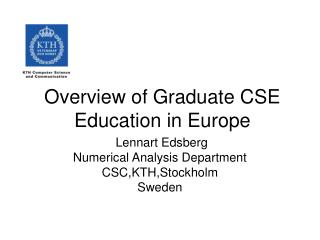 Overview of Graduate CSE Education in Europe