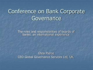 Conference on Bank Corporate Governance