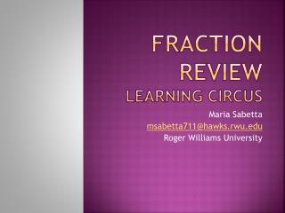 Fraction Review Learning Circus