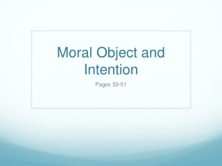 Moral Object and Intention