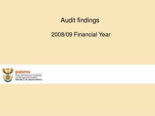 Audit findings   2008/09 Financial Year
