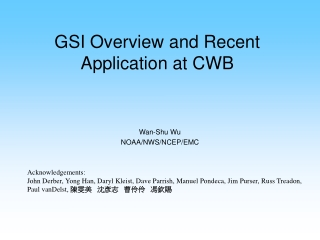 GSI Overview and Recent Application at CWB