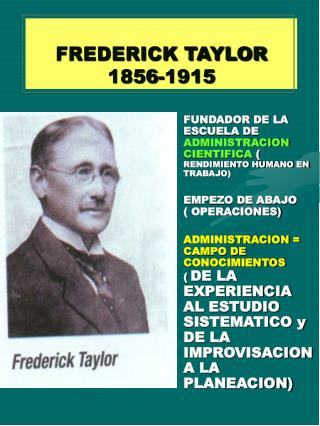 FREDERICK TAYLOR 1856-1915