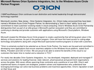 Microsoft Names Orion Systems Integrators, Inc. to the Windo