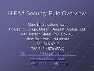 HIPAA Security Rule Overview
