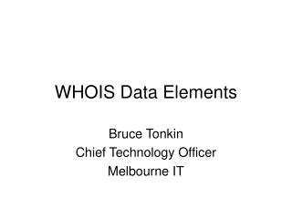 WHOIS Data Elements