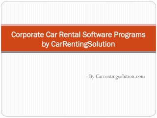 Car Rental System | Rental Car Programs