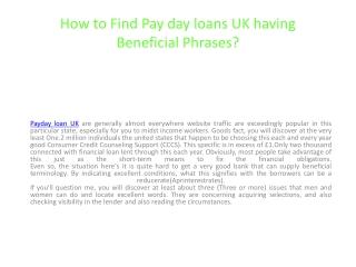 Payday loan UK