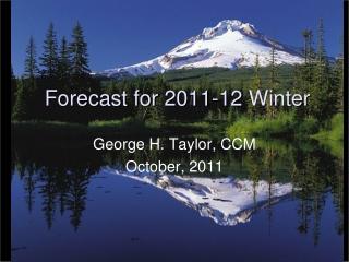 Forecast for  2011-12  Winter