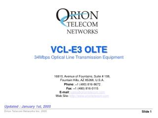 VCL-E3 OLTE 34Mbps Optical Line Transmission Equipment