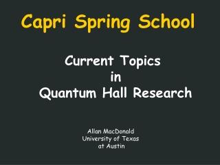 Capri Spring School