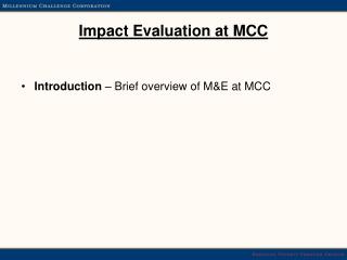 Impact Evaluation at MCC