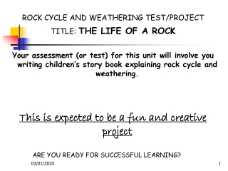 ROCK CYCLE AND WEATHERING TEST/PROJECT TITLE:  THE LIFE OF A ROCK