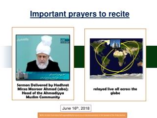 Important prayers to recite