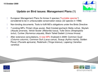 Update on Bird issues: Management Plans (1)