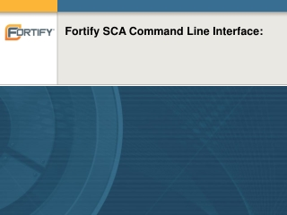 Fortify SCA Command Line Interface: