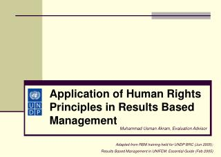 Application of Human Rights Principles in Results Based Management
