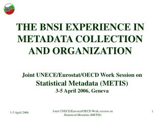 THE BNSI EXPERIENCE IN METADATA COLLECTION AND ORGANIZATION