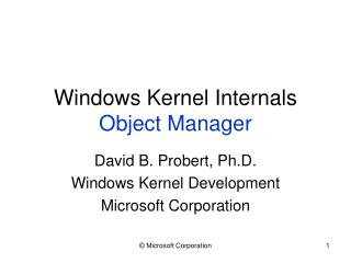 Windows Kernel Internals Object Manager
