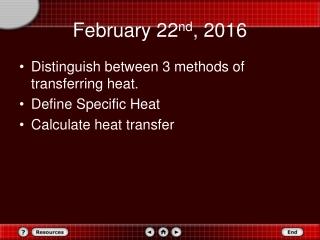 February 22 nd , 2016