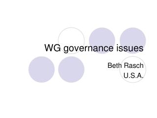 WG governance issues