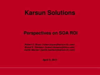 Perspectives on SOA ROI