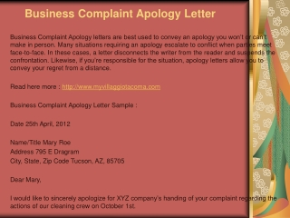 Business Apology Letter