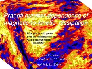 Prandtl  number  dependence of magnetic-to-kinetic  dissipation