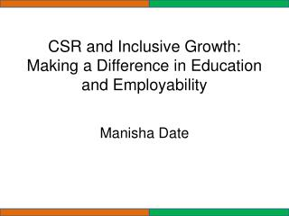 CSR and Inclusive Growth: Making a Difference in Education and Employability