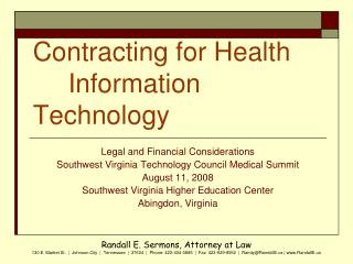 Contracting for Health 	Information Technology